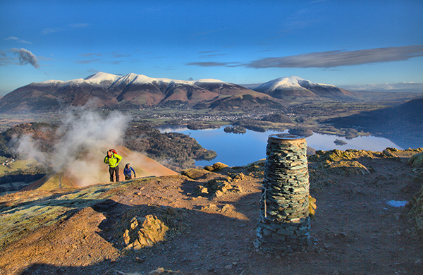 Walkers on Cat bells looking towards Skiddaw