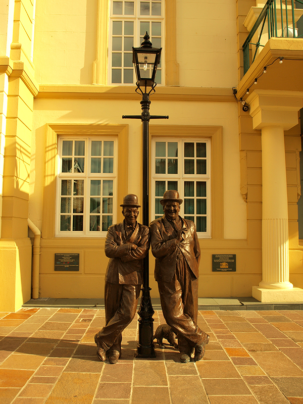 Laurel & Hardy statue outside Ulverston town hall