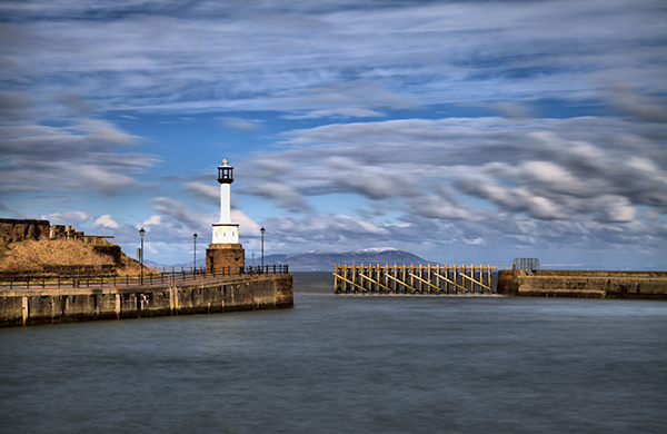 Maryport Lighthouse at full tide