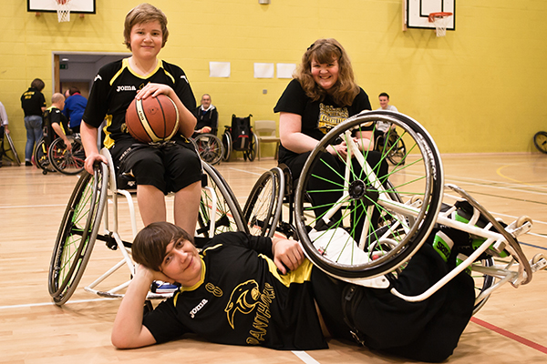 Group photo of basketballers for Cumbria Wheelchair Sports Club