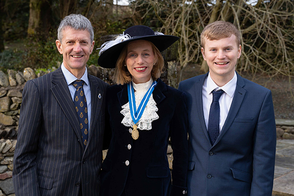 Peter, Julie & John Barton at the installation of High Sheriff of Cumbria