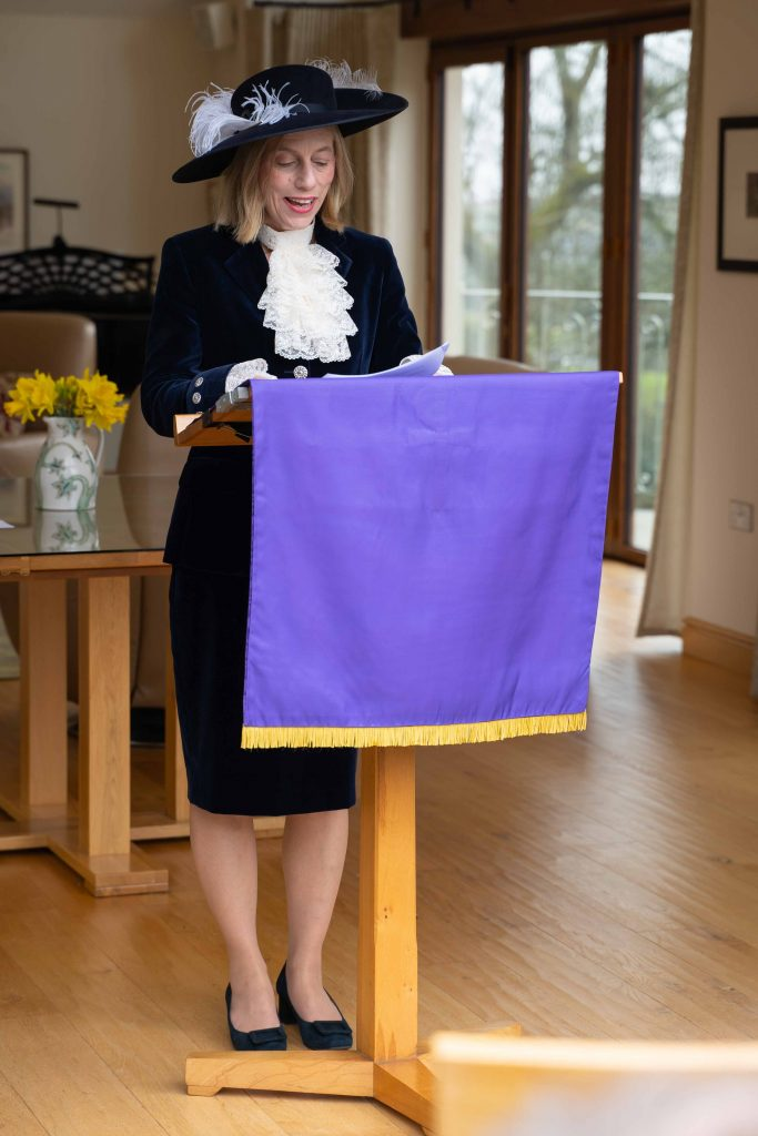 High Sheriff Julie Barton giving a speech at her installation ceremony