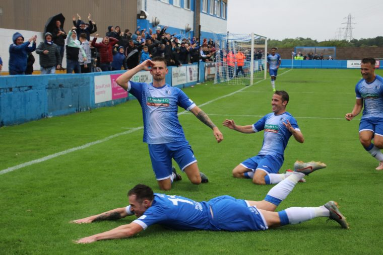 Barrow AFC Players celebrate a goal