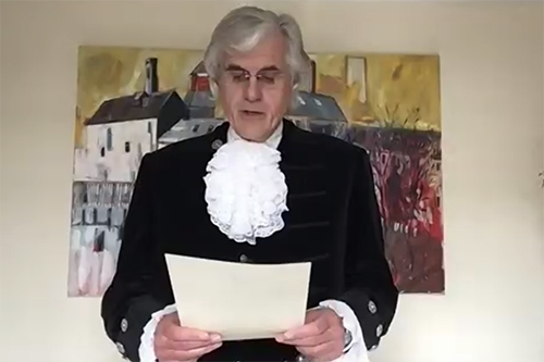 David Beeby reading the declaration for the High Sheriff of Cumbria Installation