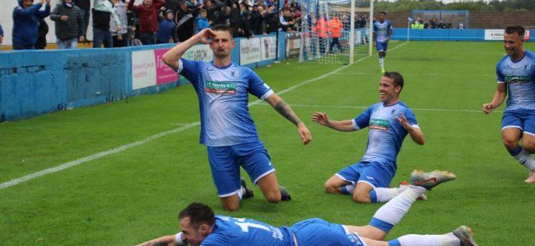 Barrow AFC Players celebrate a goal