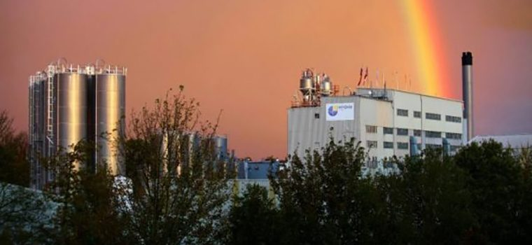 View of Innovia factory with a rainbow behind
