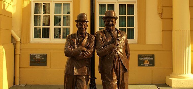 Statue of Laurel & Hardy outside Ulverston Town Hall