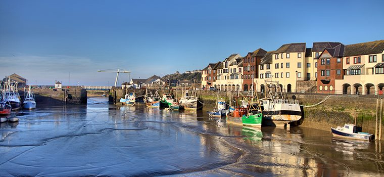 View of Maryport harbour at low tide