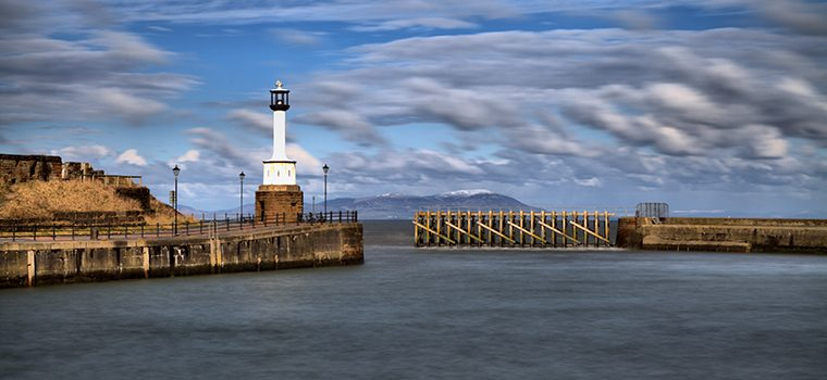 View of Maryport lighthouse looking towards to the sea