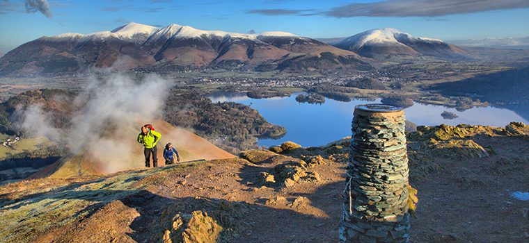 People walking on Cat Bells with a view of Skiddaw